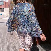 """Одежда ручной работы. Ярмарка Мастеров - ручная работа Пончо валяное ажурное """"Капли дождя"""". Handmade."""