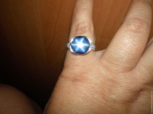 Кольца ручной работы. Ярмарка Мастеров - ручная работа. Купить Авторское серебряное  кольцо с звездчатым сапфиром. Handmade. Тёмно-синий