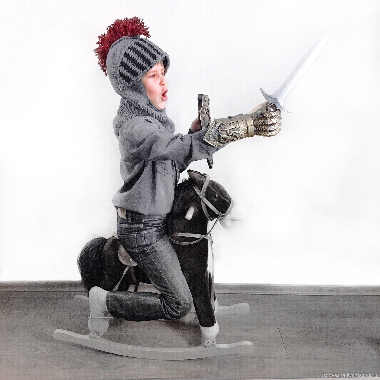 Шапка-шлем рыцаря (воин) для мальчика, вязаная, шапочка зимняя, Шапки, Москва,  Фото №1