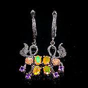 Украшения handmade. Livemaster - original item Handmade 925 sterling silver earrings with fire opals and amethysts. Handmade.