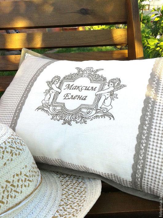 Текстиль, ковры ручной работы. Ярмарка Мастеров - ручная работа. Купить Подушка льняная интерьерная с вышивкой в винтажном стиле. Handmade.
