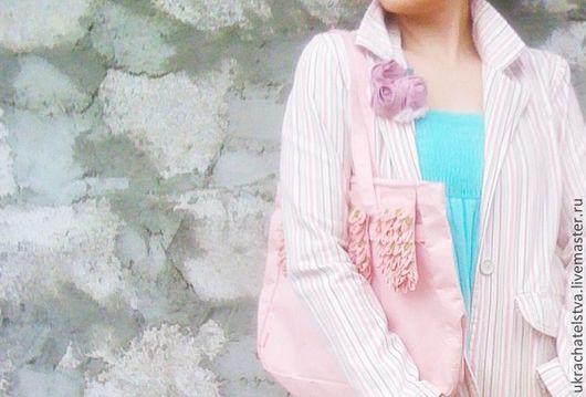 """Броши ручной работы. Ярмарка Мастеров - ручная работа. Купить брошь """"Контраст"""". Handmade. Розовый цвет, брошь роза, море"""