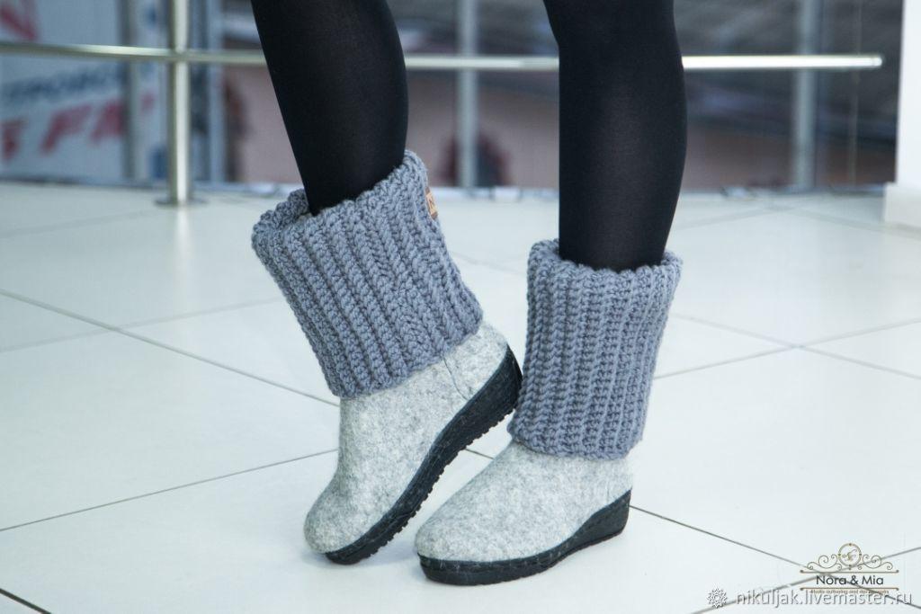 boots felt felting and knitting gray, Footwear, Dnepropetrovsk, Фото №1