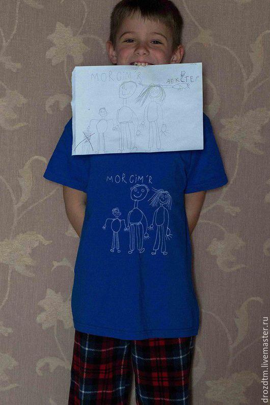 Футболки, майки ручной работы. Ярмарка Мастеров - ручная работа. Купить Детский рисунок футболка ручной росписи работа вашего ребенка. Handmade.