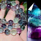 Работы для детей, handmade. Livemaster - original item Beautiful beads with cut natural fluorite. Handmade.