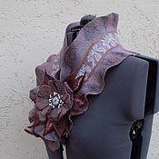 Аксессуары handmade. Livemaster - original item Felted turtleneck with flower brooch. Handmade.