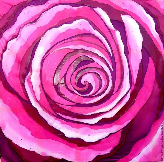 """Шали, палантины ручной работы. Ярмарка Мастеров - ручная работа. Купить Батик платок """"Роза"""". Handmade. Фуксия, платок"""