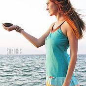 Одежда ручной работы. Ярмарка Мастеров - ручная работа Платье из льна «Морское». Handmade.