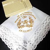 handmade. Livemaster - original item Handkerchief wedding Anniversary. initials . Monogram. Handmade.