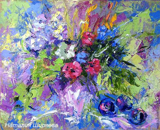 """Картины цветов ручной работы. Ярмарка Мастеров - ручная работа. Купить """"Этюд со Сливами и Листьями Винограда"""" - картина маслом. Handmade."""