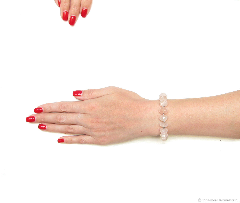 Bracelet made of natural stones,bracelet with pink quartz, Bead bracelet, Moscow,  Фото №1