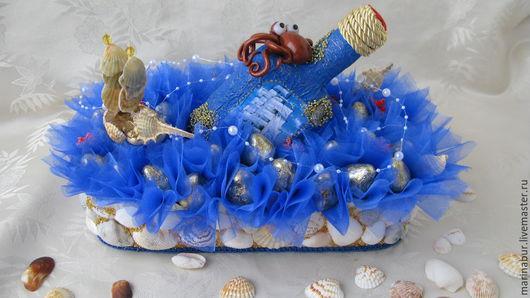 Букеты ручной работы. Ярмарка Мастеров - ручная работа. Купить На морском дне(подарок для мужчин). Handmade. Морская волна, сладкое