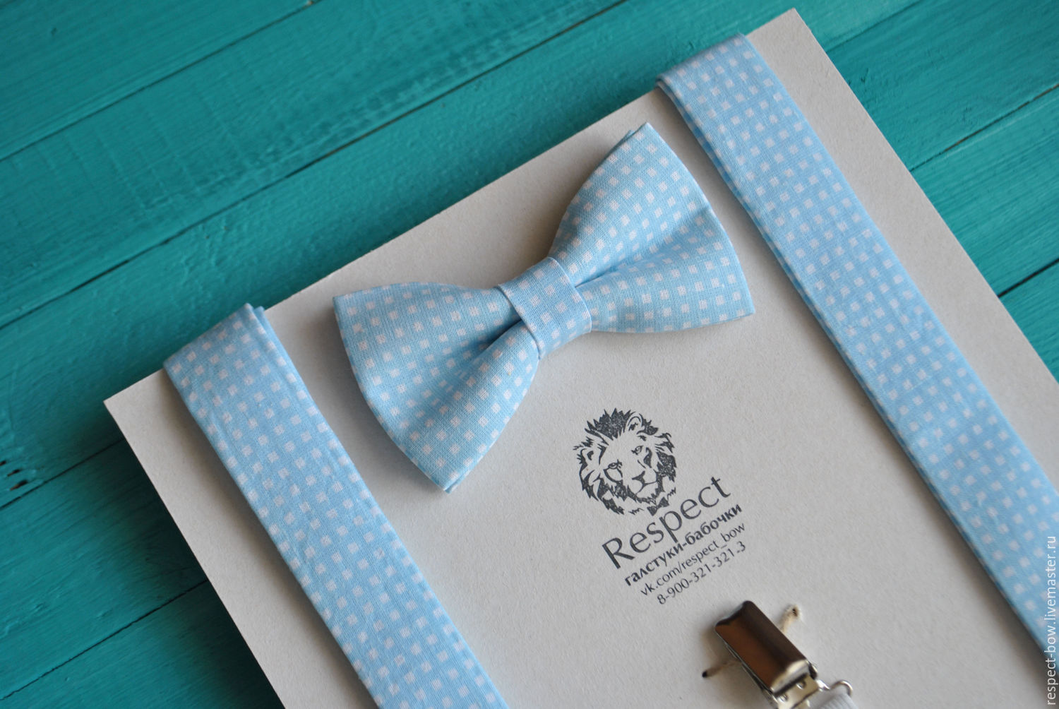 Blue tie in white plaid Suspenders blue / Set Morning, Straps, Moscow,  Фото №1