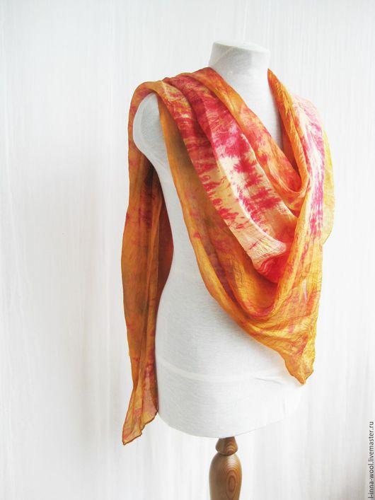 Шелковый палантин ручного крашения рыжий оранжевый красный огненный натуральный шелк