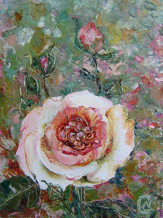 Картины цветов ручной работы. Ярмарка Мастеров - ручная работа. Купить картина Роза. Handmade. Бледно-розовый, цветы, роза