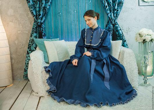 Платья ручной работы. Ярмарка Мастеров - ручная работа. Купить Платье синее с круглой кокеткой. Handmade. Синий, подарок любимой