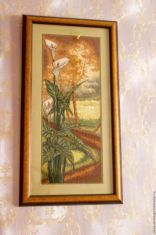 """Картины цветов ручной работы. Ярмарка Мастеров - ручная работа. Купить Вышитая картина """"Цветок у дороги"""". Handmade. Зеленый"""