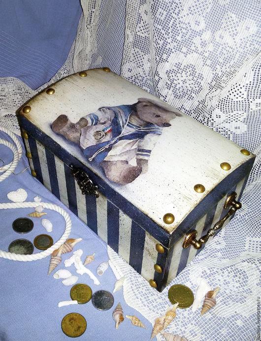 """Шкатулки ручной работы. Ярмарка Мастеров - ручная работа. Купить Винтажный сундучек """"Мишка -морячек"""". Handmade. Голубой, морской стиль"""