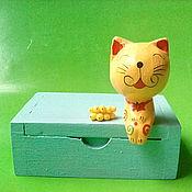"""Для дома и интерьера ручной работы. Ярмарка Мастеров - ручная работа Детская шкатулка """"Кошка с бананами"""". Handmade."""