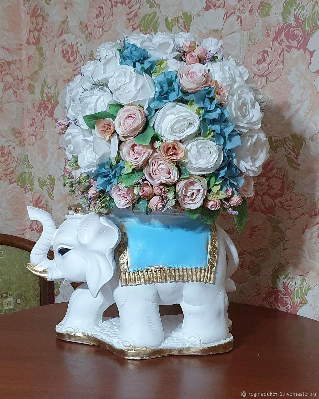 """Композиция из искусственных цветов """"Белый слон """", Скульптуры, Астрахань,  Фото №1"""