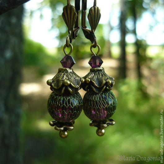 Серьги ручной работы. Ярмарка Мастеров - ручная работа. Купить Серьги Фиолетовые в ювелирной сеточке (античная латунь). Handmade.