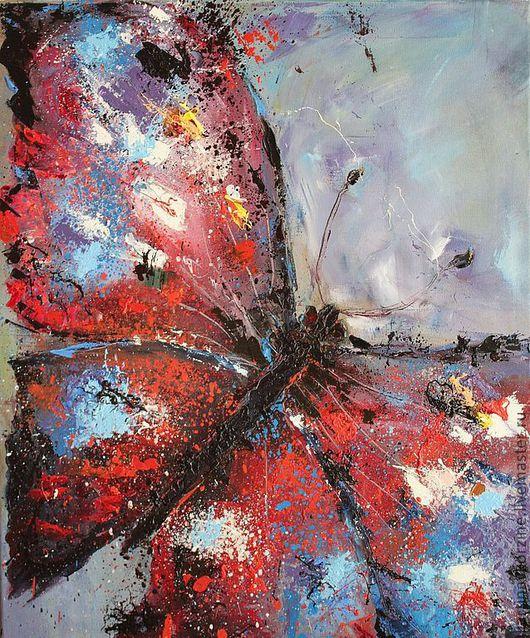Животные ручной работы. Ярмарка Мастеров - ручная работа. Купить Бабочка. Handmade. Ярко-красный, картина в подарок, картина в детскую