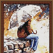 """Материалы для творчества ручной работы. Ярмарка Мастеров - ручная работа Набор для  вышивки бисером """"Под зонтом"""" (М). Handmade."""