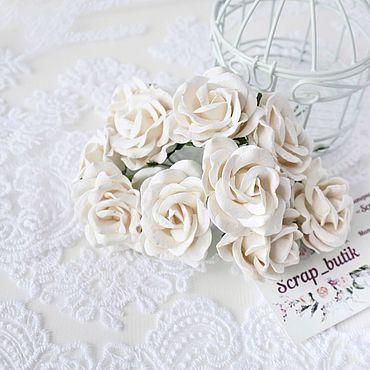 Цветы и флористика ручной работы. Ярмарка Мастеров - ручная работа Бумажные розы Белые 4 см Бумажные розы для скрапбукинга. Handmade.