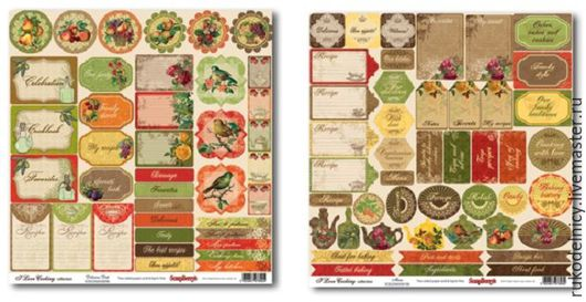 Бумага для скрапбукинга одностороняя Готовим Дома Любимое блюдо