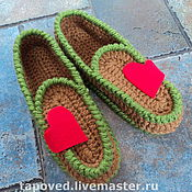 """Обувь ручной работы. Ярмарка Мастеров - ручная работа Тапочки """"Мокасины с сердечком"""". Handmade."""
