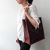 Сумки и аксессуары handmade. Livemaster - original item Big brown leather woan bag. Handmade.