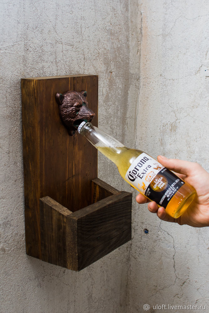 Wall-mounted bottle opener made of barn boards ' Beer time', Gifts for February 23, Ivanovo,  Фото №1
