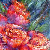 Картины и панно handmade. Livemaster - original item Red roses floral original oil painting on canvas Flower wall art. Handmade.