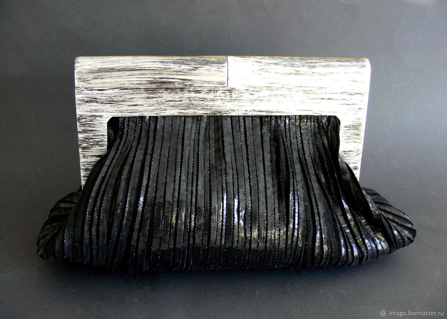 Black leather clutch with wooden clasp, Clutches, Novosibirsk,  Фото №1