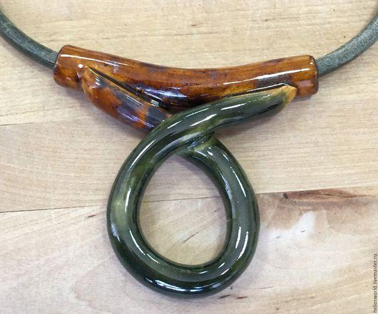 Для украшений ручной работы. Ярмарка Мастеров - ручная работа. Купить Бусина трубочка-кулон крупная керамическая. Handmade. Черный
