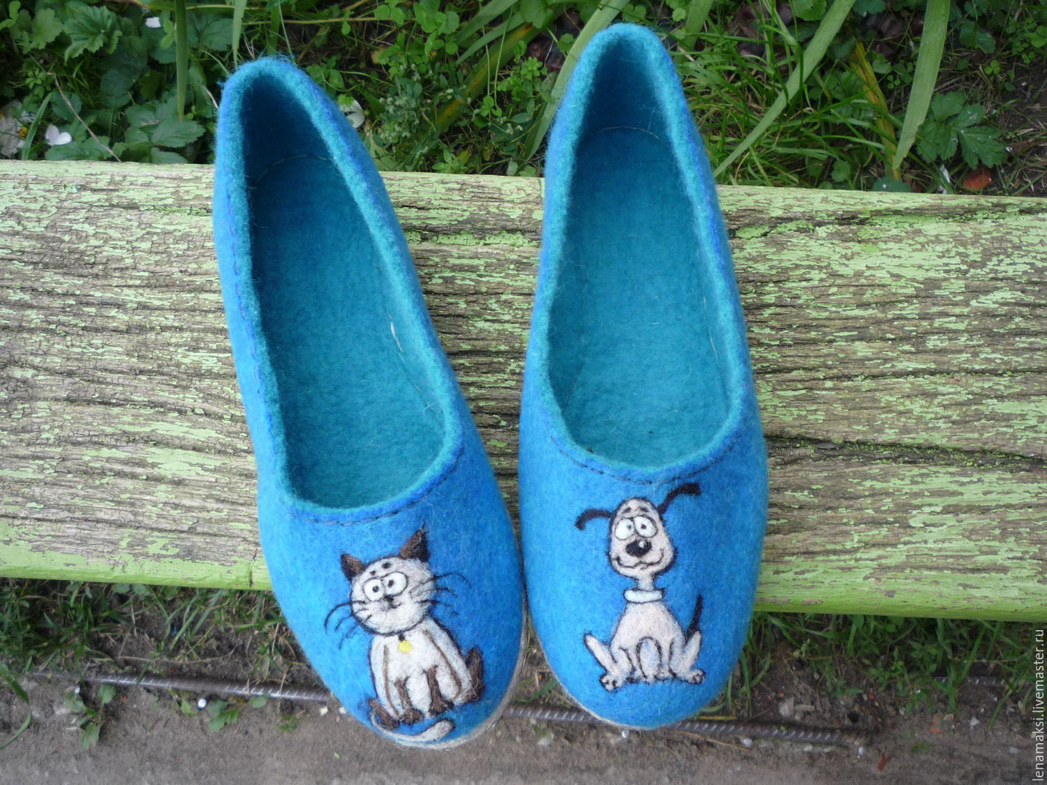 Handmade Shoes handmade. Livemaster - handmade. Buy Slippers-ballet flats 'cat and dog'.Blue, natural materials