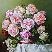 "Картина маслом ""Натюрморт с букетом роз"""