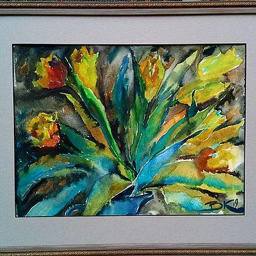 """Картины и панно ручной работы. Ярмарка Мастеров - ручная работа """"Картина Оранжевые тюльпаны"""". Handmade."""