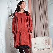 Одежда ручной работы. Ярмарка Мастеров - ручная работа Платье ярусное льняное. Handmade.