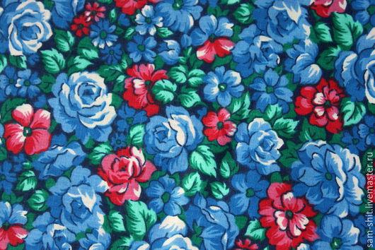 Шитье ручной работы. Ярмарка Мастеров - ручная работа. Купить Отрез ткани с розами 50х75 см. Handmade. Голубой