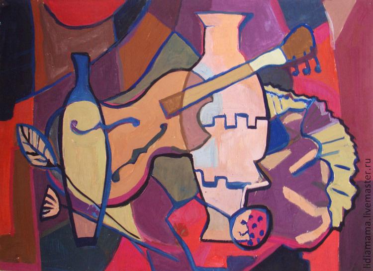 Abstract still life with violin the artwork by Tatyana Petrovskaya