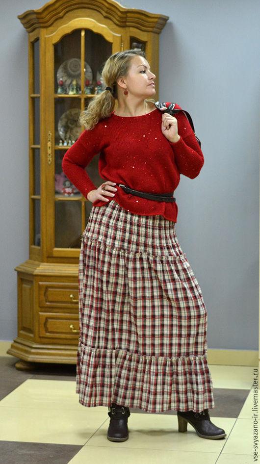 Кофты и свитера ручной работы. Ярмарка Мастеров - ручная работа. Купить вязаный красный мохеровый джемпер с пайетками. Handmade. Однотонный