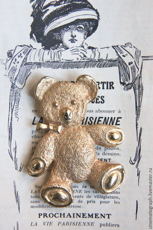 Винтажные украшения. Ярмарка Мастеров - ручная работа. Купить Большая брошь FRANCE винтаж. Handmade. Золотой, мишка, медвежонок, брошь