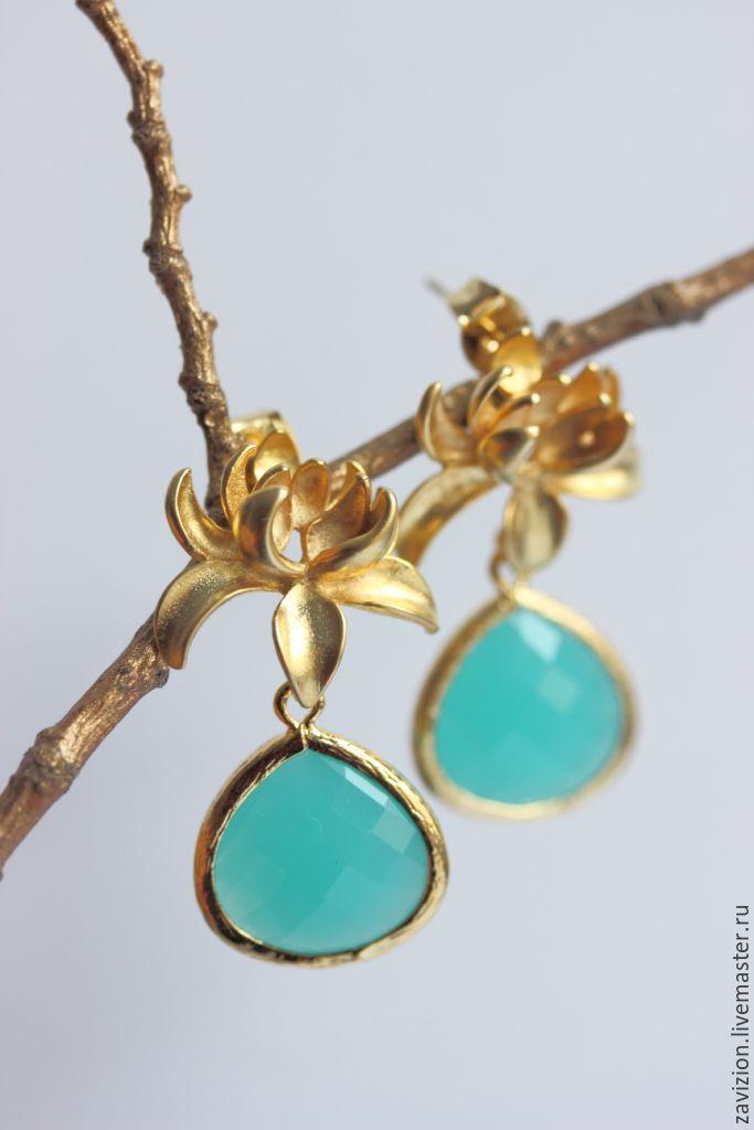Earrings Chrysanthemum. Earrings. Floral earrings. Turquoise earrings. Earrings with gold plated. Earrings Golden. Fair Masters