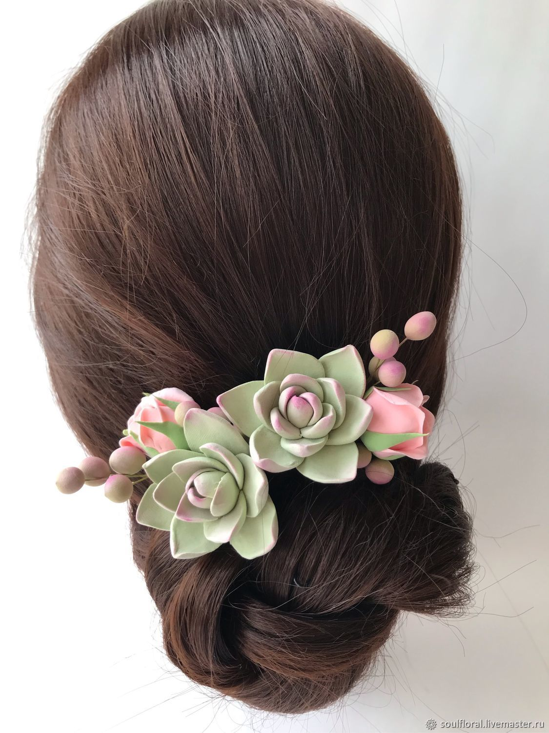 Succulents and pink roses on stilettos. polymer clay, Hair Decoration, Voskresensk,  Фото №1