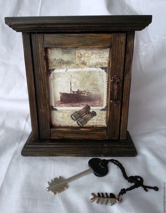 """Прихожая ручной работы. Ярмарка Мастеров - ручная работа. Купить Ключница """"Bon voyage"""". Handmade. Коричневый, ключница деревянная"""