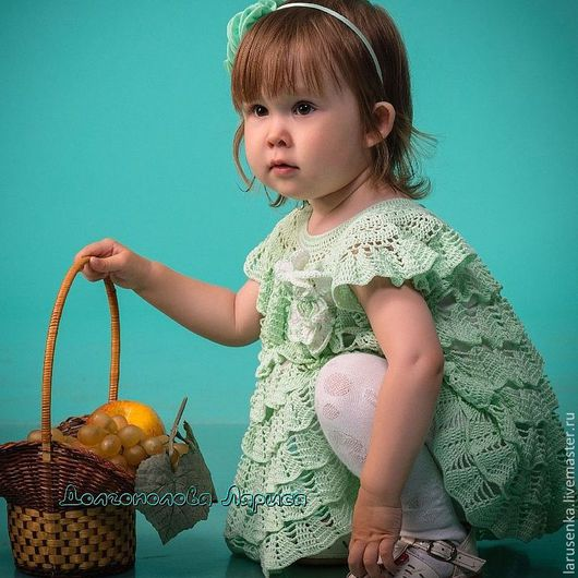 """Одежда для девочек, ручной работы. Ярмарка Мастеров - ручная работа. Купить Платье """"МЯТА"""". Handmade. Мятный, платье вязаное, хлопок"""
