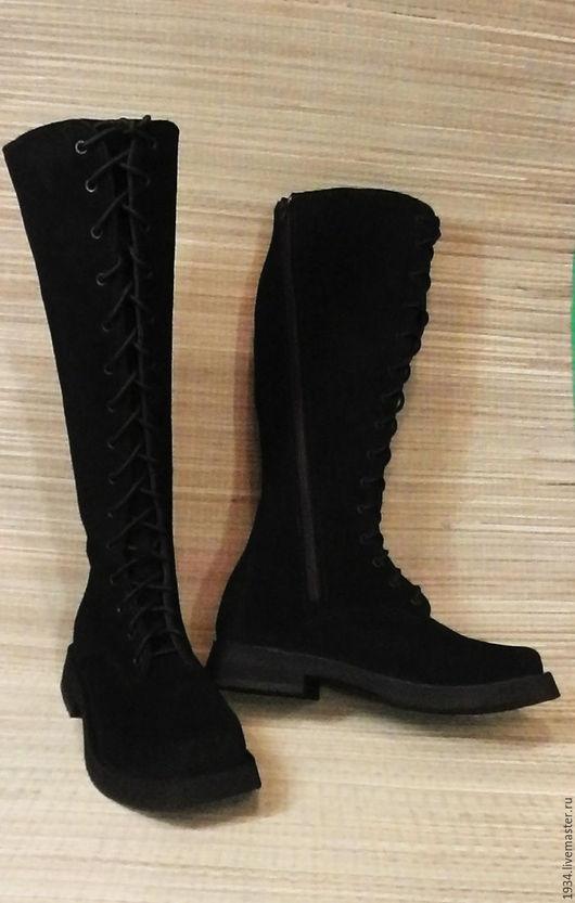 Обувь ручной работы. Ярмарка Мастеров - ручная работа. Купить Сапоги женские F-1. Handmade. Черный, милитари, резина