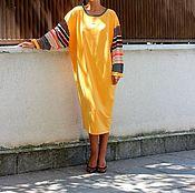Одежда ручной работы. Ярмарка Мастеров - ручная работа Желтое макси миди элегантное коктейльное платье кафтан, длинные рукавы. Handmade.
