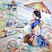 """Картины и панно ручной работы. Ярмарка Мастеров - ручная работа Картина маслом """"Оранжевый зонтик"""". Handmade."""